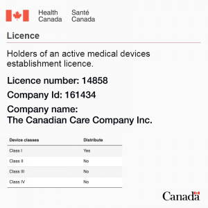 The Canadian Care Company Inc. MDEL licence